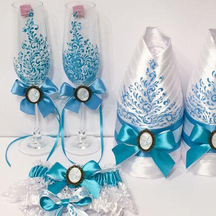 Свадебные аксессуары в бирюзовом цвете