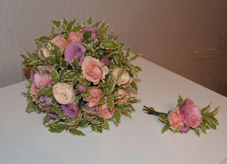 букет в стиле прованс.нежные розы обрамленные фитоспорумом.  - фото 3533069 Свадебный флорист-декоратор Кристина Щеглова