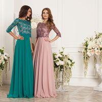 Платье слева: Артикул: Регина бирюза. Материал: Кружево, шифон. Стоимость: 27.000 р.  Платье справа: Артикул: Регина фрез-пудра.. Материал: Кружево, шифон. Стоимость: 27.000 р.