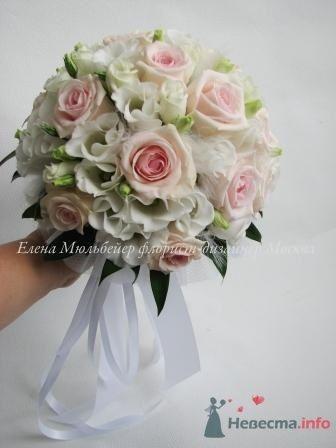 """""""Пернатый""""букет  из роз и лизиантуса - фото 28881 Цветочная мастерская Флорины"""