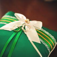 Подушечка для колец в зелёно-бирюзовых тонах
