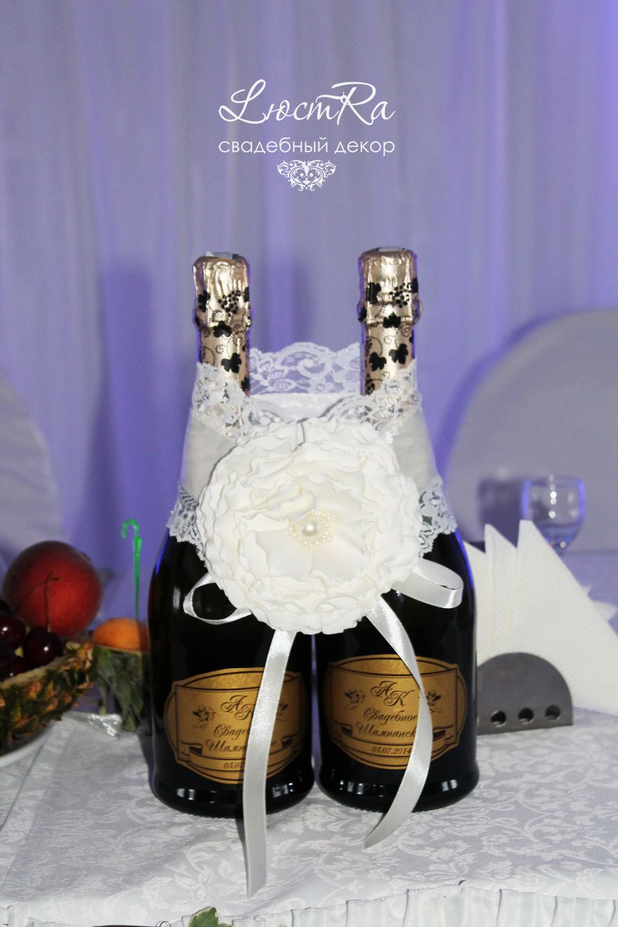 """Украшение и этикетки на шампанское. - фото 3777413 Свадебный декор """"LюстRa"""""""