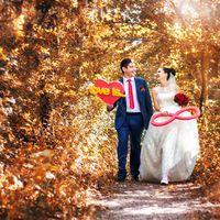 Любовь, прекрасная пара, букет, осень, парк, прогулка