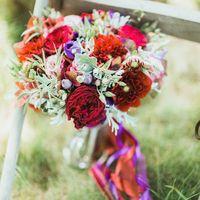Букет невесты из гортензии, георгин, розочек двух сортов, лизиантуса и зелени  Флорист Рина Озерова Фотограф Ксения Антонова