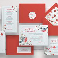 Приглашения с акварелью в ярко-красной гамме для зимней свадьбы