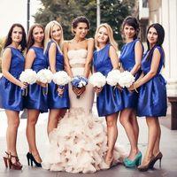 подружки, платья, букет, образ, синий