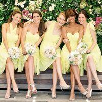 подружки, платья, букет, образ, желтый