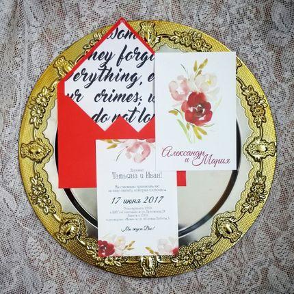 """Приглашение """"Красные цветы"""", 1 шт."""