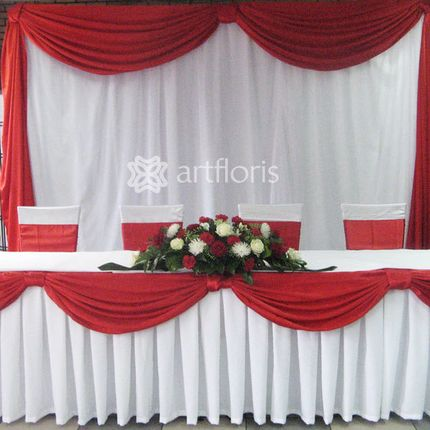 Оформление свадебного президиума стол, фон и цветы