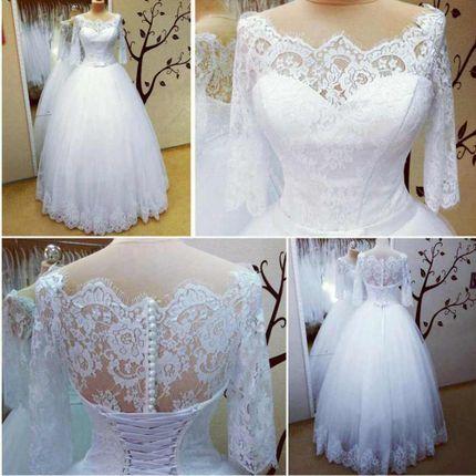 Пышное белое платье с рукавами  Гортензия