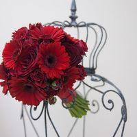 Красный букет невесты из роз и гербер