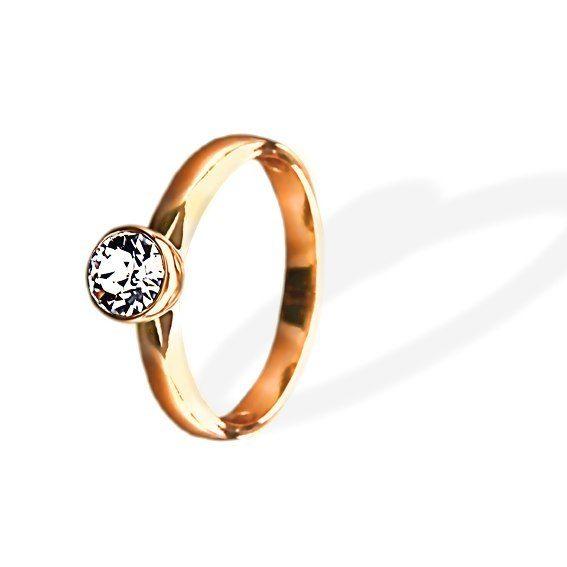 Кольцо Parisienne grand gold crystal Покрытие - золото 585 пробы Вставки - кристаллы Swarovski Размеры 16-19  - фото 5089159 Ювелирный салон Mademoiselle Jolie Paris