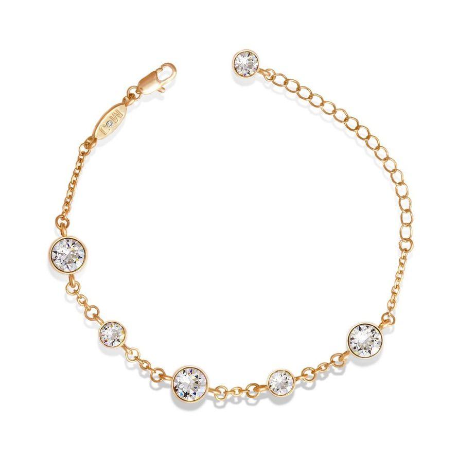 Браслет Parisienne jour gold crystal Покрытие - золото 585 пробы Вставки - кристаллы Swarovski   - фото 5089165 Ювелирный салон Mademoiselle Jolie Paris