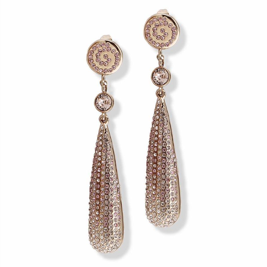 Серьги Parisienne grand gold silk Покрытие - золото 585 пробы Вставки - кристаллы Swarovski - фото 5089183 Ювелирный салон Mademoiselle Jolie Paris