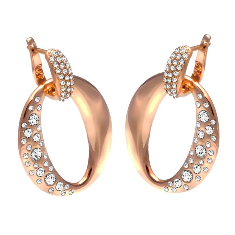 Серьги Tête-à-tête soir gold crystal Покрытие - золото 585 пробы Вставки: кристаллы Swarovski   - фото 5089231 Ювелирный салон Mademoiselle Jolie Paris