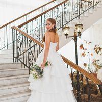 Нежное свадебное платье из воздушной тафты  со съемной юбкой