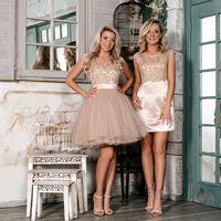 Койл (FL)  Короткое пышное платье с кружевным атласным верхом