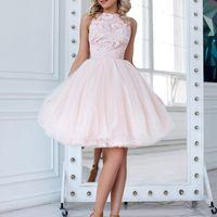 Кэтти (FL) Короткое вечернее платье с кружевным верхом и фатиновой юбкой