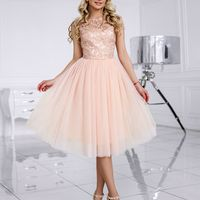 Лола (FL) Короткое вечернее платье к кружевным верхом и фатиновой юбкой