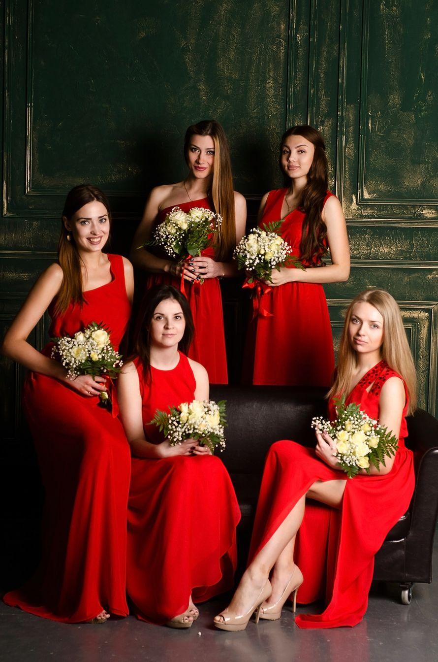 Фото подружек невесты в красных платьев