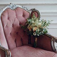 Букет невесты из роз, лизиантусов, хамелациума, астильбы и эвкалипта Photo: Юля Захарова