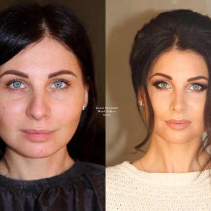 Вечерний макияж и причёска