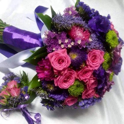 Фиолетовый букет невесты.