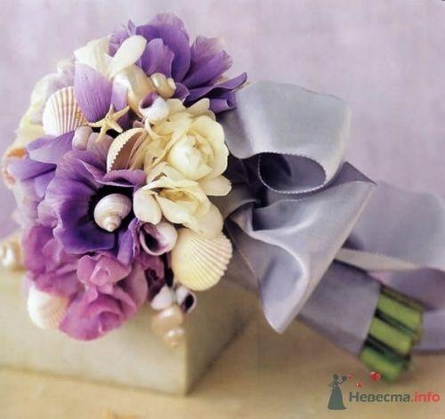 Фиолетовый букет невесты с ракушками для свадьбы в морском стиле - фото 1833 leshechka