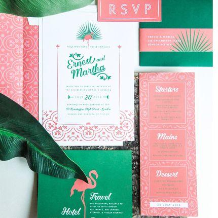 """Приглашение + конверт """"Розово-зеленый"""", цена за 1 шт"""