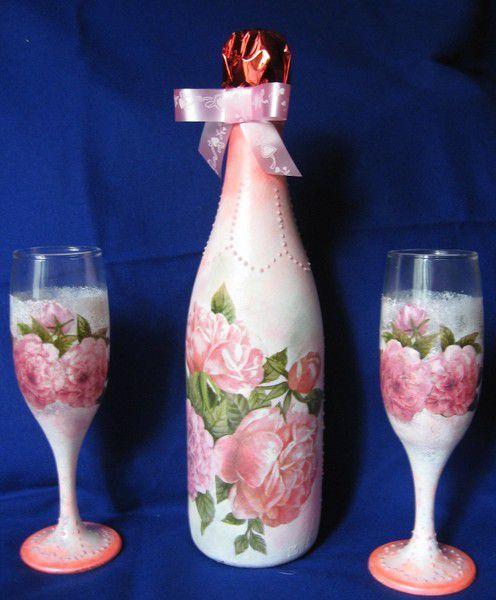 Декупаж свадебных бутылок шампанского мастер класс