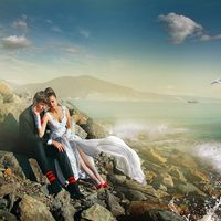 Морская свадебная фотосессия