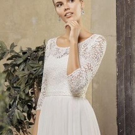 Греческое кружевное свадебное платье с рукавами