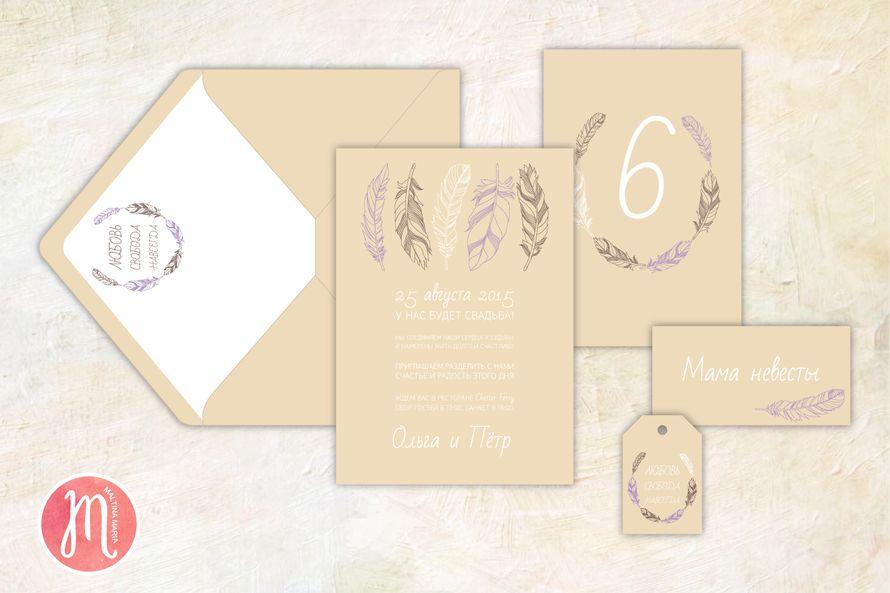 """Набор свадебной полиграфии """"Перья"""" - фото 7276988 Maltina Maria - свадебная и праздничная полиграфия"""