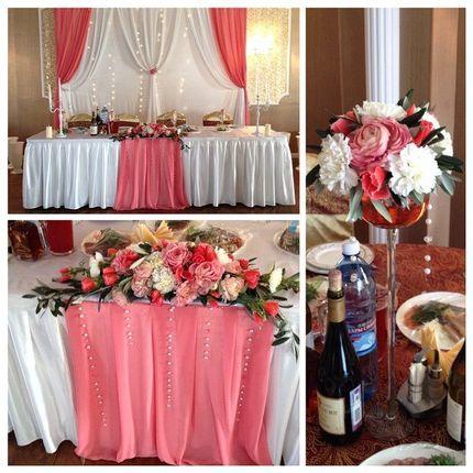 Оформление стола, ширма, цветочные композициии