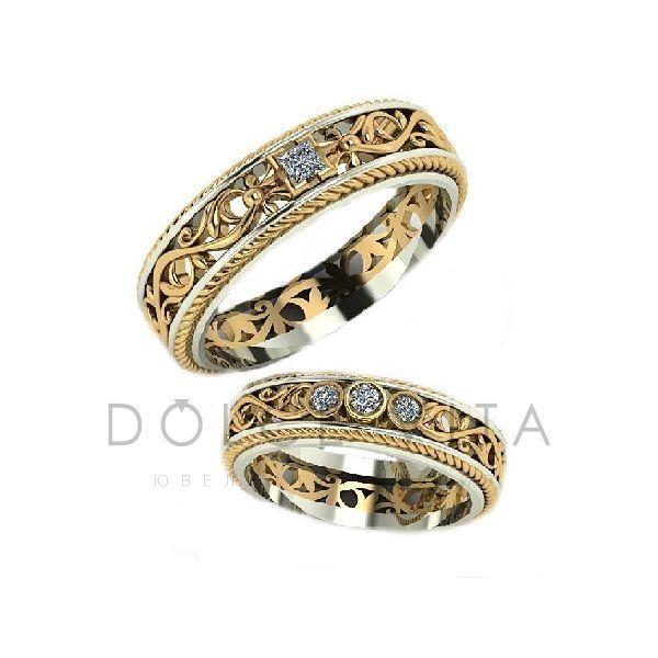 Винтажные обручальные кольца с бриллиантами