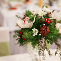 композиция на столы гостей с орхидейей и хлопком