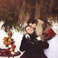 свадьба зимой, зимняя свадьба, свадьба в русско-народном стиле, самовар