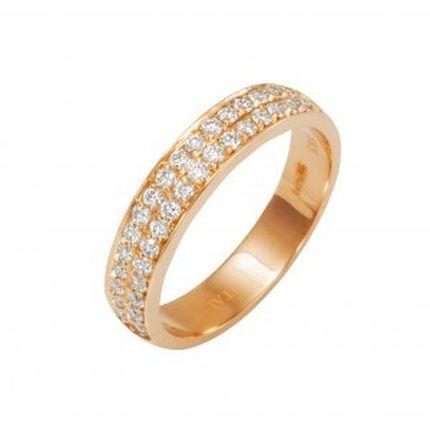 Кольцо из красного золота с бриллиантовой дорожкой