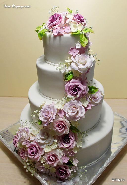 Свадебный торт фото с розами