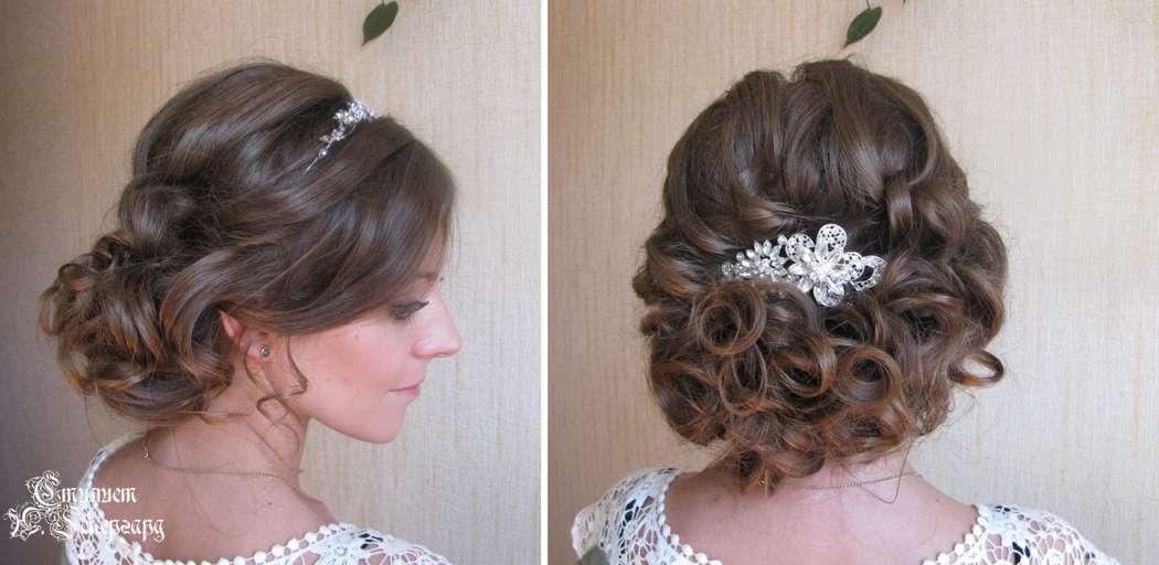 Фото свадебных причесок для волос по плечи