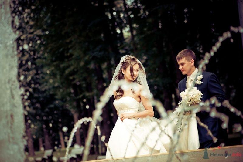 Жених и невеста стоят вместе в лесу