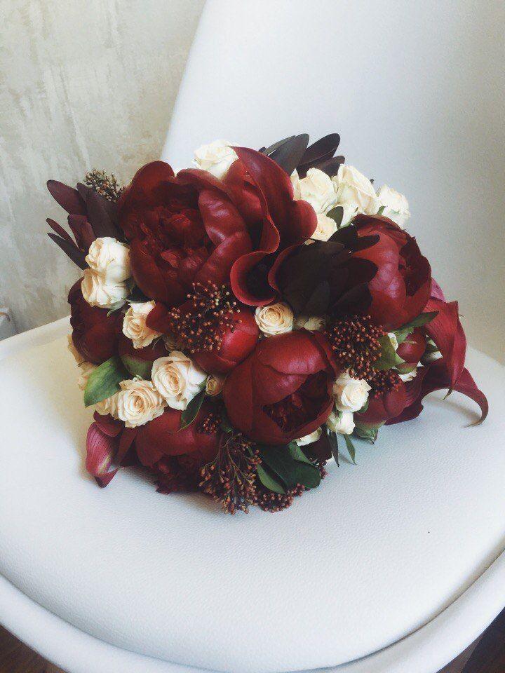 Букет из пионов цвета марсала  Floridance floristic studio — 1500 ... 19db22bb11c55