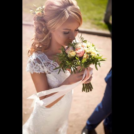 Свадебные макияж и причёска