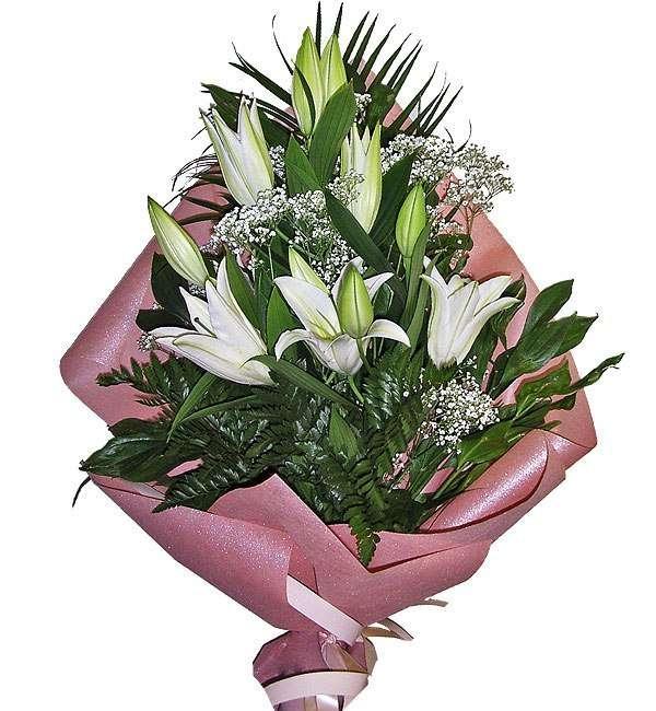 Цветы, композиции букет из лилии фото