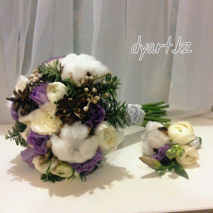 Фото 9604470 в коллекции Букет невесты, свадебный букет, бутоньерка, браслет - DY.Art