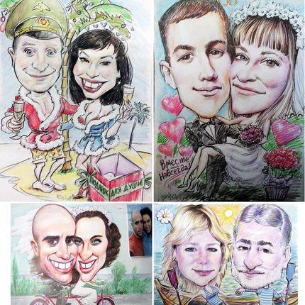 Рисование свадебного шаржа или портрета с фото, 30х40 см