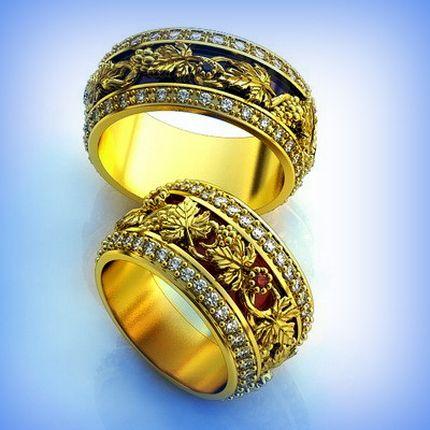 """Обручальные кольца с орнаментом """" Виноградная лоза """""""