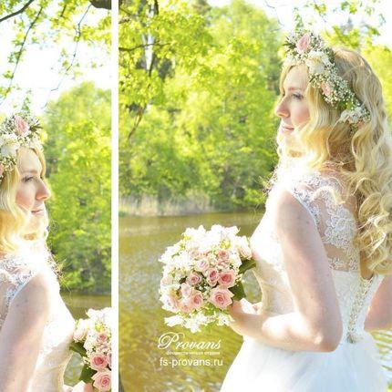 """Букет невесты и венок """"Купавна"""""""