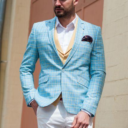Голубой пиджак в клетку