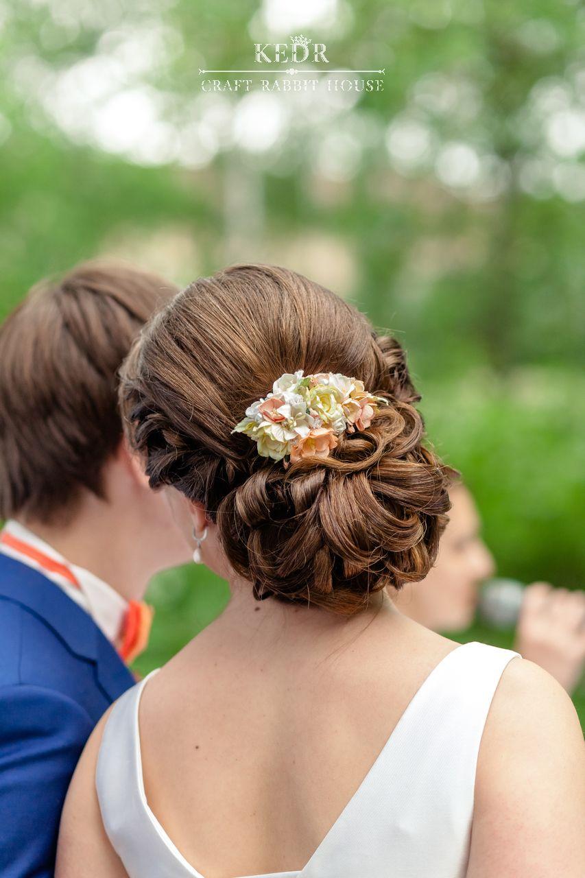персиково-рыжий цветочный гребень невесты - фото 10569944 Авторская мастерская аксессуаров Kedr